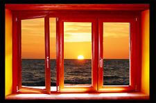 walL stickers-trompe l'oeil  -tramonto- finestra- adesivo per muro-- moderno