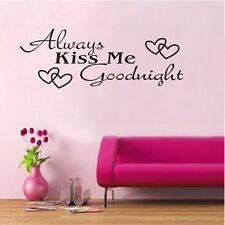Always Kiss Me Goodnight Vinyl Wall Art Decals Window Sticker Home Decor HG-0675