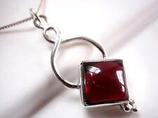 Garnet Necklace Square under Infinite Hoop 925 Sterling Silver New