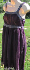 BELLEZA DRESS GOWN M Beaded Purple Cocktail Wedding SILK Lined Empire STUNNING