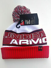 Under Armour YOUTH Winter Hat- Red, Black & White- 2 Style Wear- Pom on Top-NWT