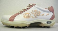 ECCO Golf White Pink Rose Lace Golf Shoes Size 36