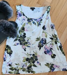 Woman's J.JILL WEAREVER COLLECTION Floral Tank Top Sleeveless Size small med