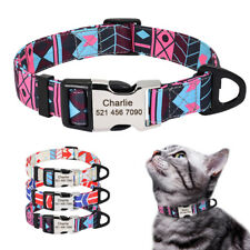 Personalized Dog Collar Adjustable ID Name Collar Metal Buckle Engraved & D-ring