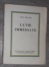 Paul ELUARD - La Vie Immédiate - Edition Originale sur Alfa / Surréalisme
