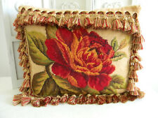 Gorgeous Wool Needle Point Tapestry ROSES Pillow~Tassel Fringe