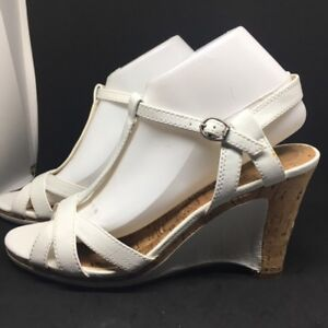 CONNIE WHITE AND CORK WEDGE SANDALS WOMEN'S SIZE 9 1/2