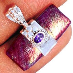 Red Flash Labradorite & Amethyst 925 Silver Pendant Jewelry BP85159 290K