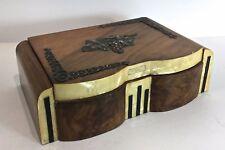 Superbe boîte à bijoux des années 1950 bois marqueterie et décors de raisin