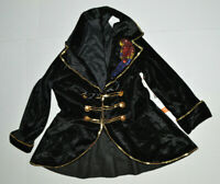 Pirate Jacket Costume Womens Small Sequin Parrot Stretch Velour Black Halloween
