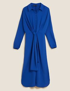 MARKS AND SPENCER TIE FRONT MIDI SHIRT DRESS BLUE COLOUR SIZE 10 LONG