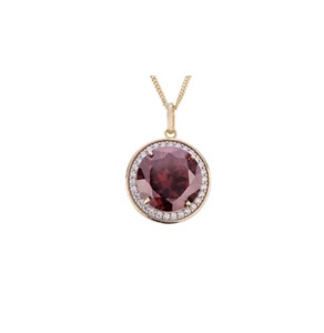 9ct Gold Plated Ruby Red & White Cubic Zirconia Pendant & Chain boxed Necklace