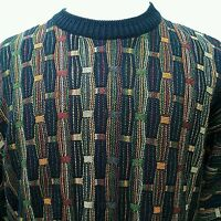 Norm Thompson Italy Vtg 80s XL Sweater Coogi Cosby Biggie Hip Hop Old School