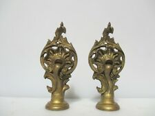 Victorian Brass Curtain Pole Finials Antique Mounts Ends Vintage Old Rococo