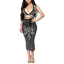 Med Women's Sexy Sequin 2 Piece Skirt Set Cocktail Set Short Sleeve Dress Shiny