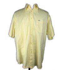 B14 Paul & Shark Yellow Cotton Short Sleeve Button Front Shark Logo Italy XL