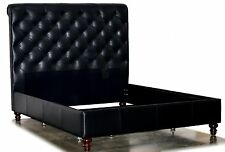 Queen Size Chesterfield Bed, Deep Button Diamond Tufting & Nail Heads