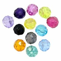 """500pcs Plastic Spacer Beads Faceted Round Ball Random Color 6mmx6mm(2/8""""x2/ F0M5"""