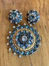 Brooch And Clip On Earrings Set Vintage/Antique Weiss Signed Blue, Clear, Gold