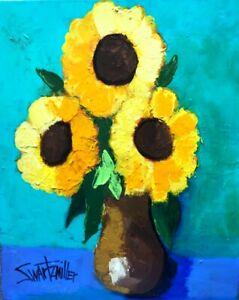 Big FLOWERS PAINTING original SWARTZMILLER DNA SIGNED large 16X20 canvas Art