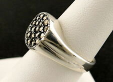 STERLING SILVER 925 PYRITE MARCASITE GEMSTONE CLUSTER VINTAGE BAND RING Sz 8.25