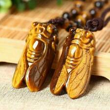 100% Natural Tiger's-Eye Stone Crystal Carved Cicada Healing Pendant