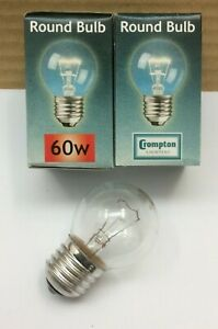 Pack of 5 x Crompton 60w Clear Golfball Light Bulbs ES E27 Screw Dimmable Lamps