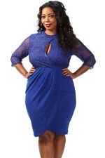 Plus Size Clothing 5X Cobalt Blue Lace Keyhole Knee Length Dress SEXY Sz 18 20