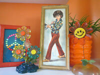 VTG 1960s Retro MOD Groovy Big Eye Kids Wall Art Print Boy Flower Power Shirt