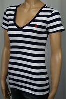 Ralph Lauren Navy Blue White Short Sleeve Knit Top Shirt V-neck NWT