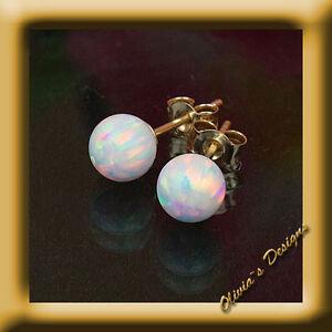 Massiv 18 Kt Gold 750 Ohrstecker Ohrringe mit 5mm Weiß Opal