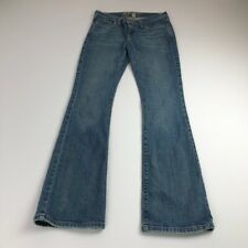 Abercrombie Fitch Women's Medium Wash Flare Jeans Stretch 0 Short 0S Zipper Fly