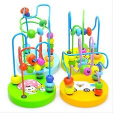 Funny Children Kids Baby Colorful Wooden Around Beads Educational Game Play Toy