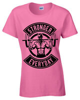 Stronger Everyday Womens T Shirt weight lifting gym training bodybuilding ladies