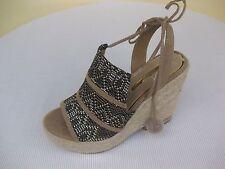 MARIAMARE Womens Shoes NEW $60 66798 Raffia Taupe Platform Wedge 37 US 6.5 7