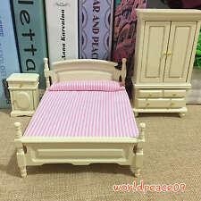 3Pcs Set Dollhouse Miniature Wooden Bedroom Cream 1:12 Scale Model