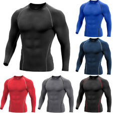 Men Compression Cool Dry Shirt Base-Layer Sports GYM Tight Top Long-Sleeve Black