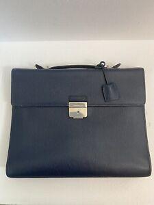 Salvatore Ferragamo Revival Single-Gusset Briefcase | Blue Leather
