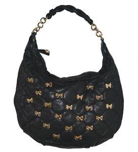 Betsey Johnson LG Hobo Quilted Sheepskin Leather Shoulder Bag Bow Studs Handbag