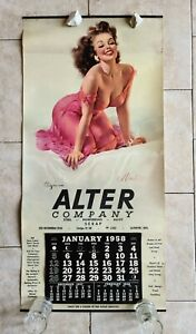 "1958 Alter Steel Co ""MIMI"" Elvgren Pinup Girl Calendar Sign Davenport Iowa IA"