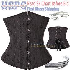 Pure Steel Boned Corset Lace Up Underbust Waist Cincher Bustier Plus Size Top AM