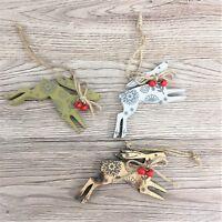 Set of 3 Gisela Graham Scandi Wooden Running Hare Hanging Decorations