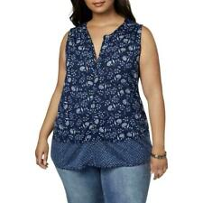 Lucky Brand Women's Plus Navy Sleeveless Button-Down Top Shirt SIZE 1X