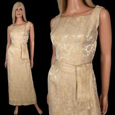 Vintage 50s Silk EVENING GOWN Maxi Wiggle Pencil Dress Gold Brocade FORMAL BALL