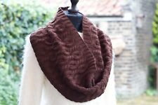 Knit Cowl Snood Scarf Wool Cashmere Blend Infinity Circle Scarf Chocolate Brown