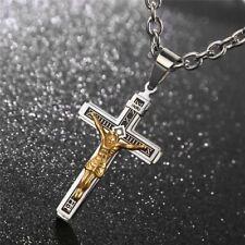 Catholic Jesus Christ on INRI Cross Crucifix stainless steel Pendant Necklace 24