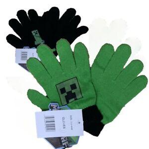 Boys Girls Kids Children Gamer Minecraft Warm Knitted Gloves 5-10 Years