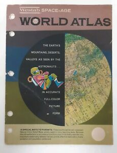 Westab Space Age World Atlas Book Jeppesen Maps Astronaut Color Vintage 60s 1962