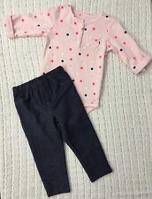 New/Tags NB (6-8 Lbs)Carter's Baby Girl's Cotton 2-Piece Denim Leggings/Bodysuit