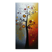 Hand Paint Abstract Canvas Oil Painting Home Decor Wall Art Tree of Life Framed